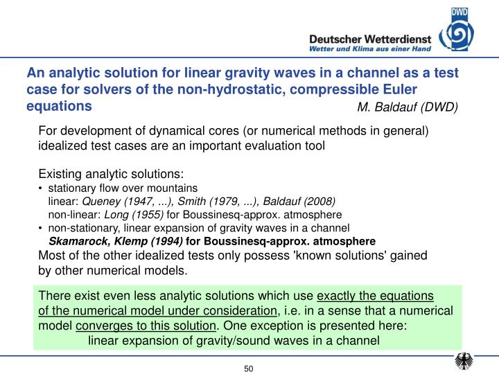 An analytic solution for linear gravity waves in a channel as a test case for solvers of the non-hydrostatic, compressible Euler equations