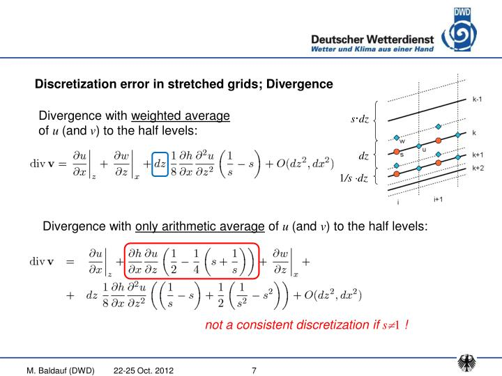 Discretization error in stretched grids; Divergence