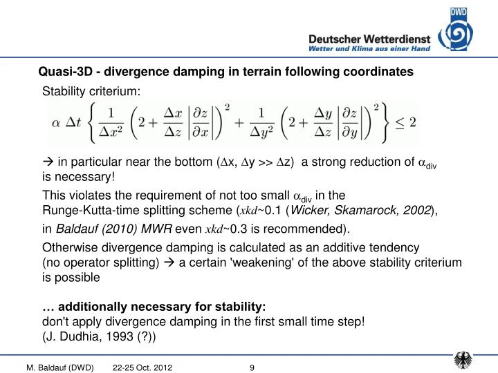 Quasi-3D - divergence damping in terrain following coordinates