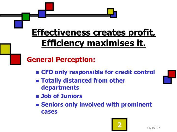 Effectiveness creates profit, Efficiency maximises it.