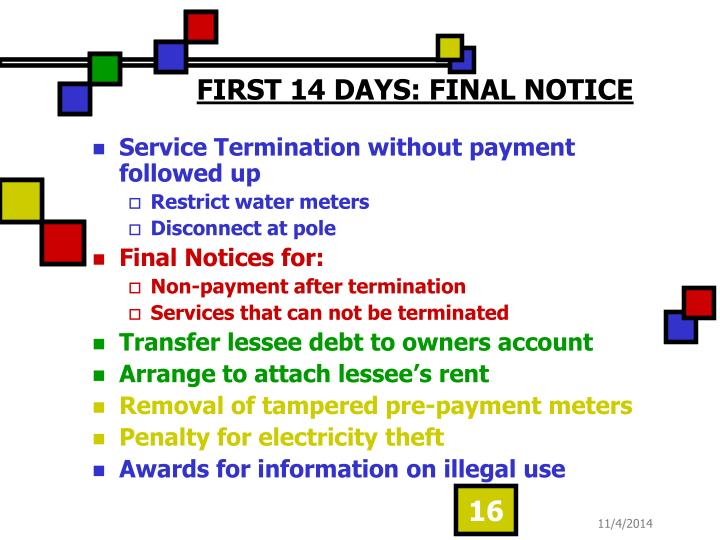 FIRST 14 DAYS: FINAL NOTICE