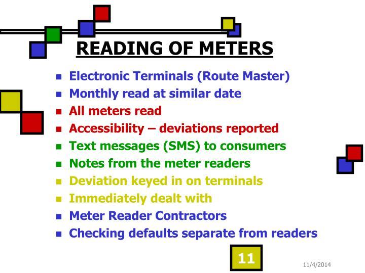 READING OF METERS