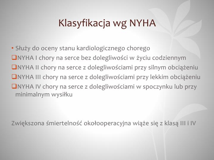 Klasyfikacja wg NYHA