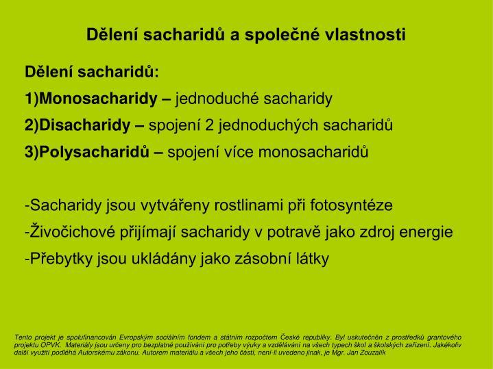 Dělení sacharidů a společné vlastnosti