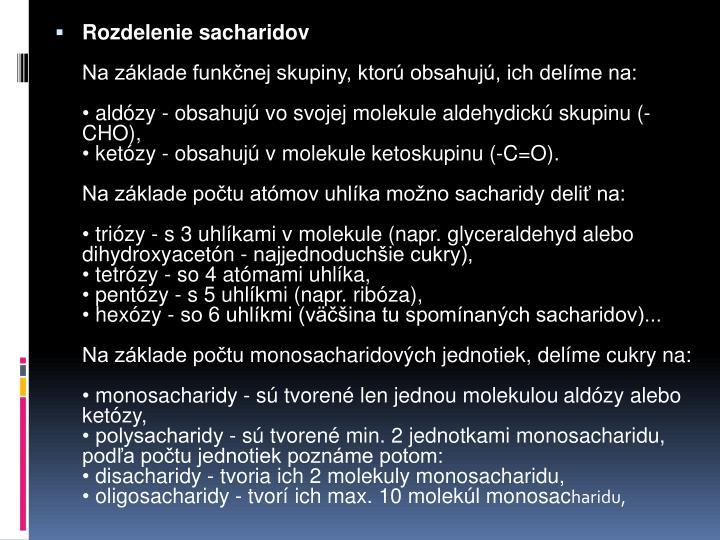 Rozdelenie sacharidov
