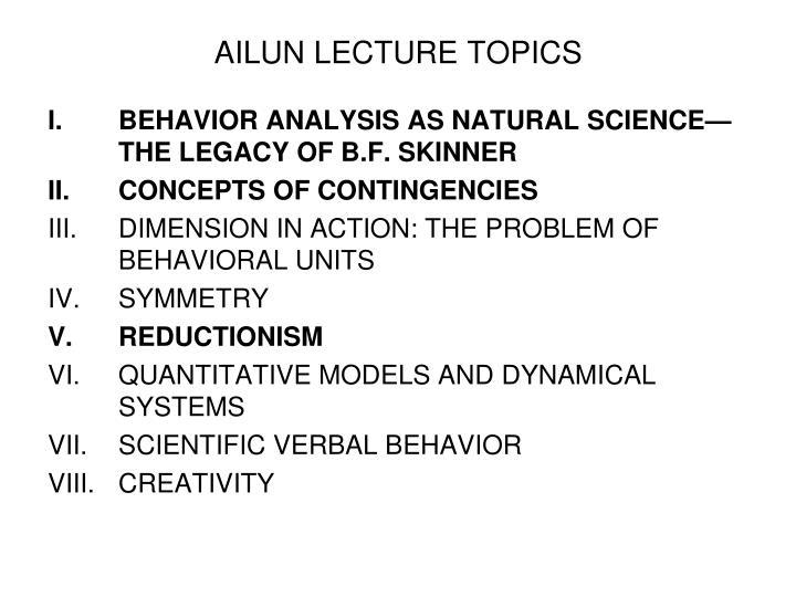 AILUN LECTURE TOPICS