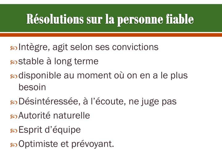 Résolutions sur la personne fiable