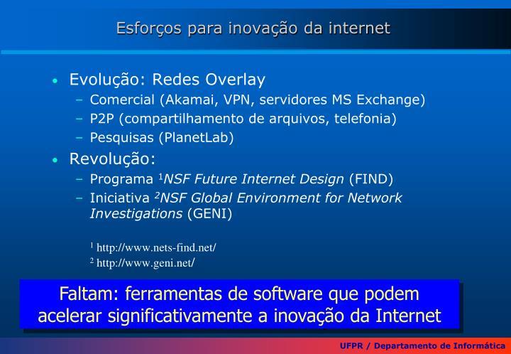Esforços para inovação da internet