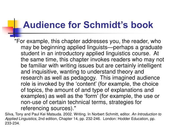 Audience for Schmidt's book