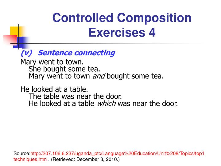 Controlled Composition Exercises 4