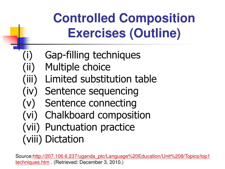 Controlled Composition Exercises (Outline)