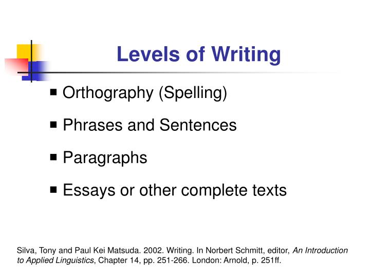 Levels of writing