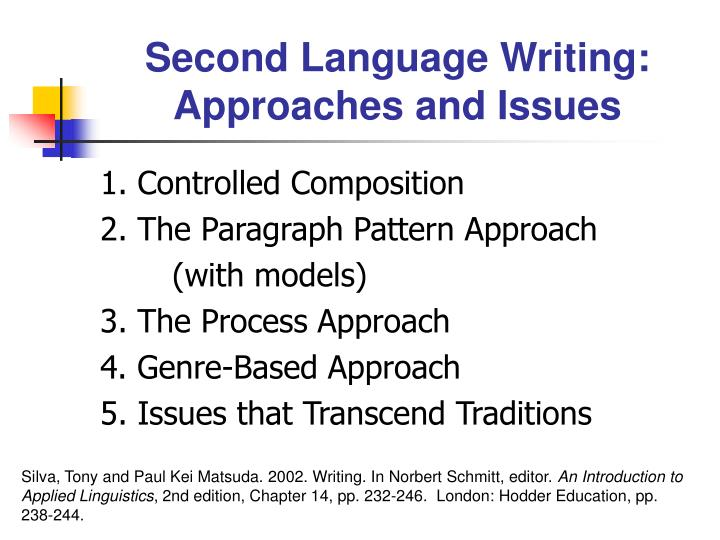 Second Language Writing: Approaches and Issues