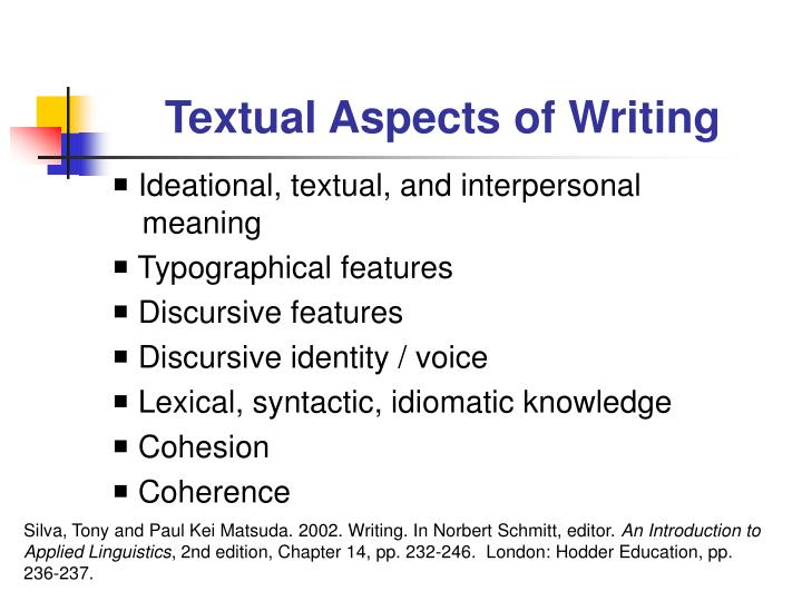 Textual Aspects of Writing