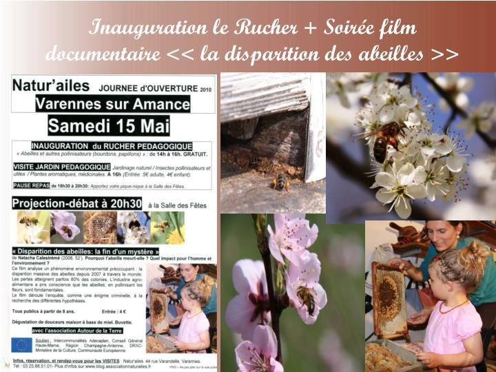 Inauguration le Rucher + Soirée film documentaire << la disparition des abeilles >>