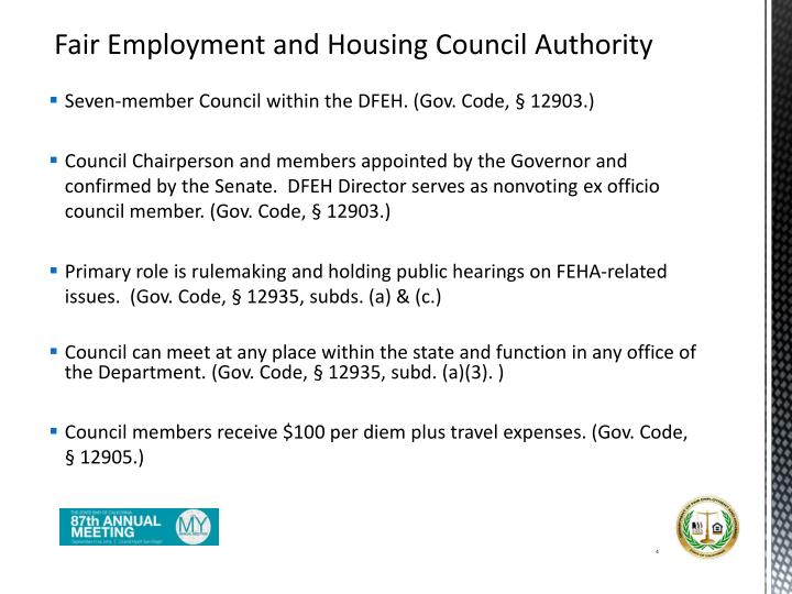Fair Employment and Housing Council Authority