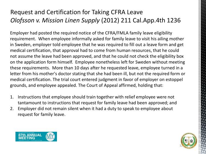 Request and Certification for Taking CFRA Leave