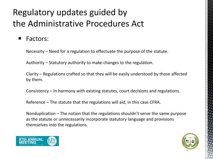Regulatory updates guided by