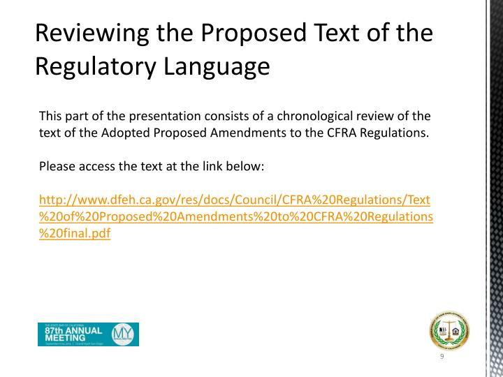 Reviewing the Proposed Text of the Regulatory Language