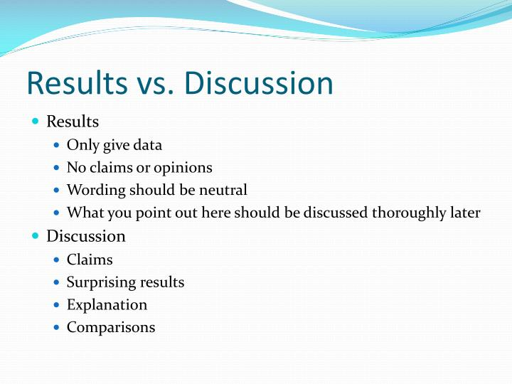 Results vs discussion