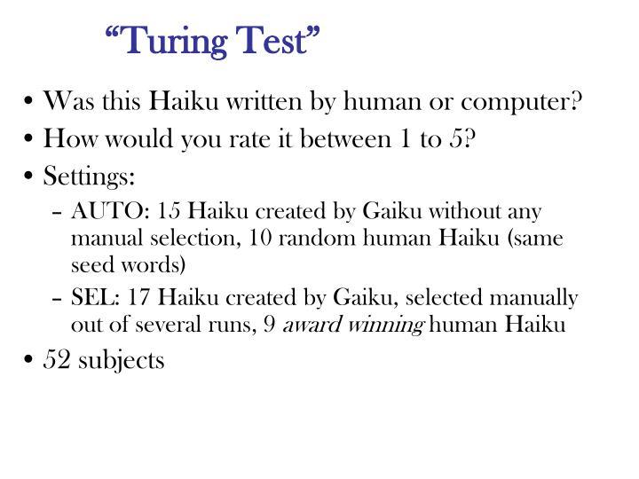 """""""Turing Test"""""""