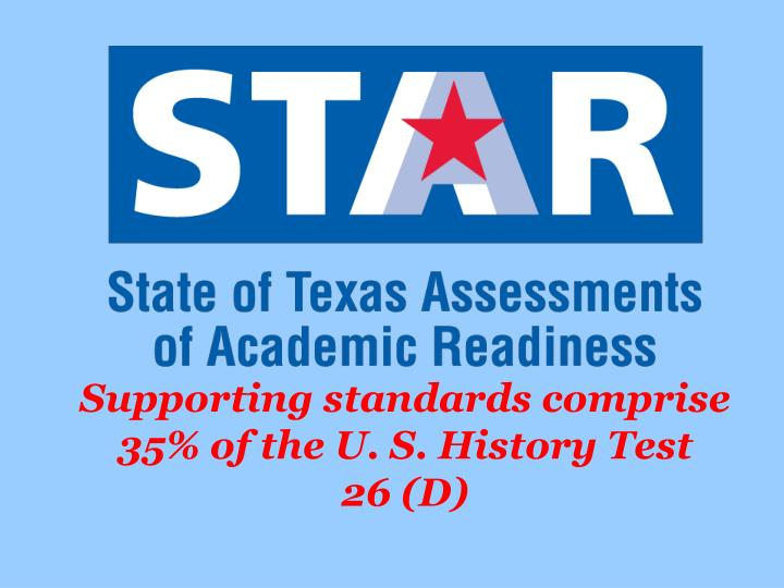 Supporting standards comprise 35% of the U. S. History Test