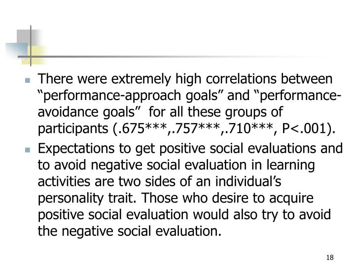 "There were extremely high correlations between ""performance-approach goals"" and ""performance-avoidance goals""  for all these groups of participants (.675***,.757***,.710***, P<.001)."
