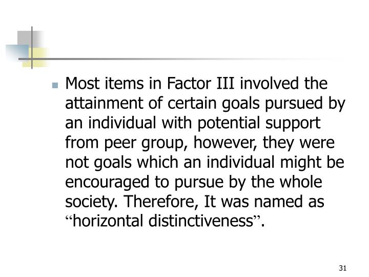 Most items in Factor III involved the attainment of certain goals pursued by an individual with potential support from peer group, however, they were not goals which an individual might be encouraged to pursue by the whole society. Therefore, It was named as