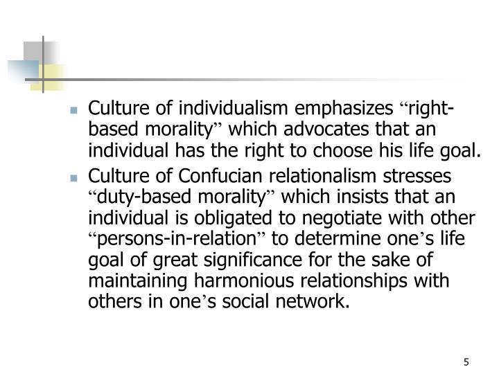 Culture of individualism emphasizes