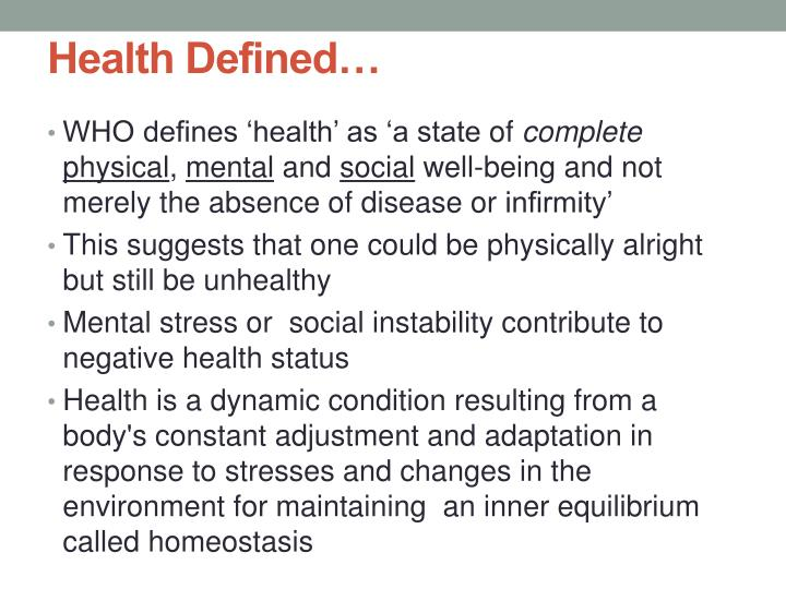 Health Defined…