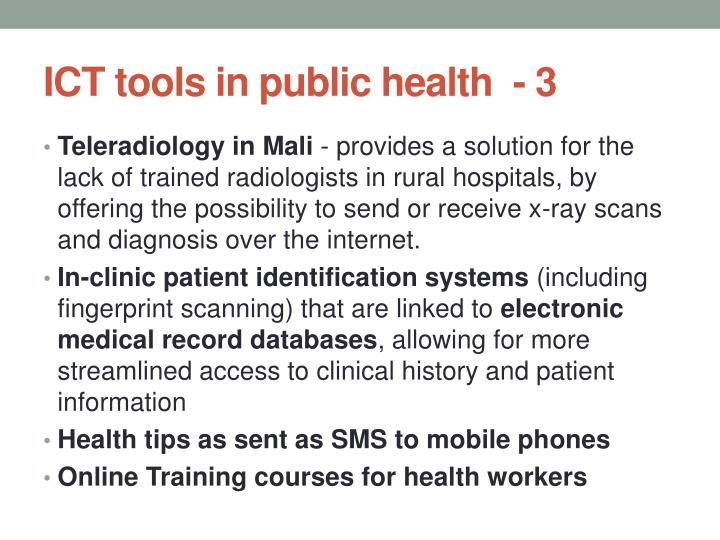 ICT tools in public health  -