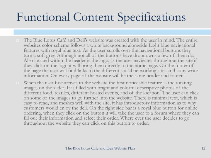 Functional Content Specifications