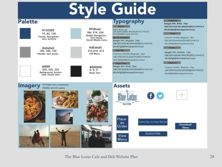 The Blue Lotus Cafe and Deli Website Plan