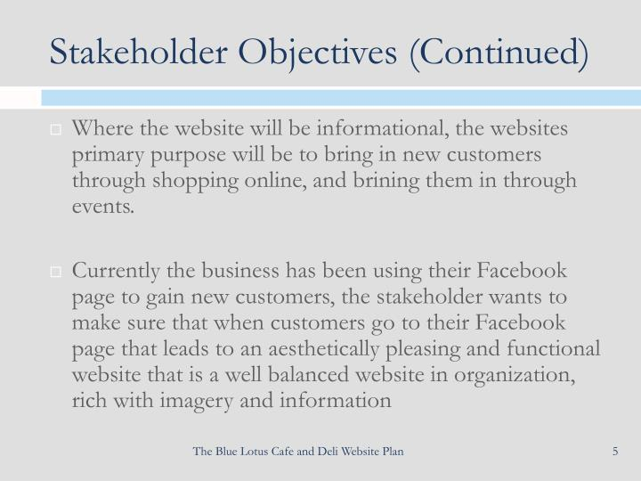 Stakeholder Objectives (Continued)