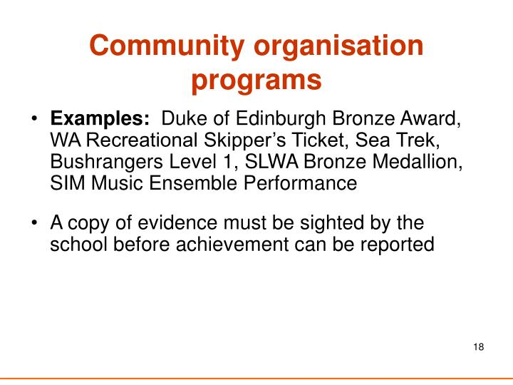 Community organisation programs