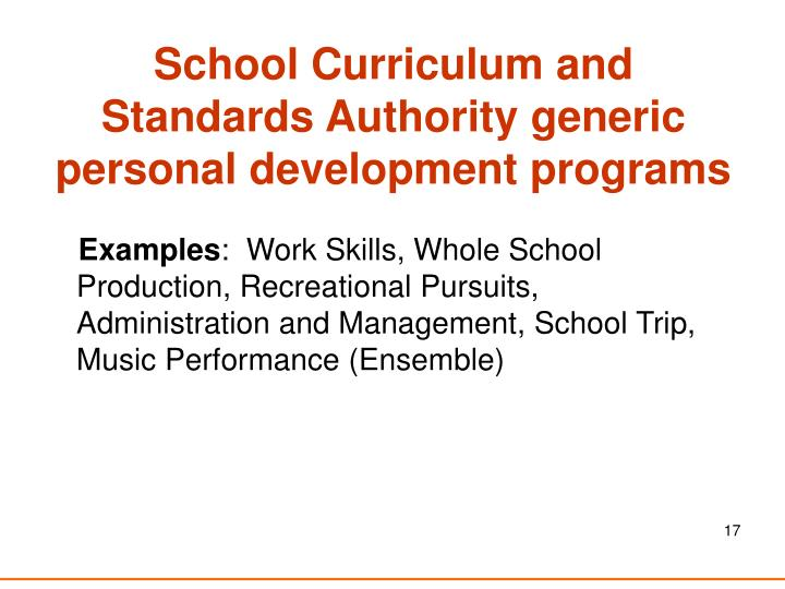 School Curriculum and Standards Authority generic personal development programs