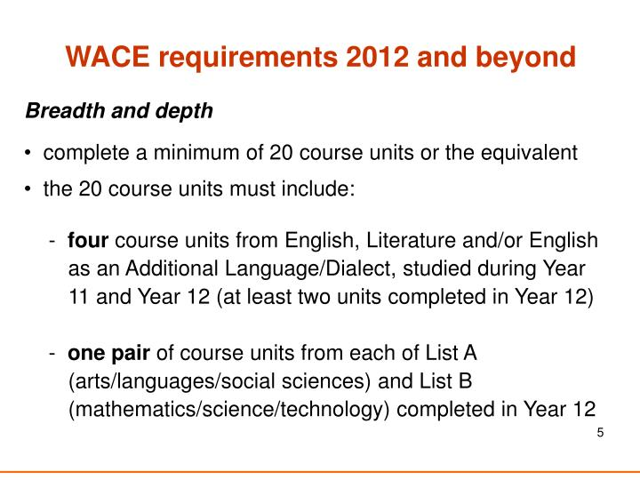 WACE requirements 2012 and beyond