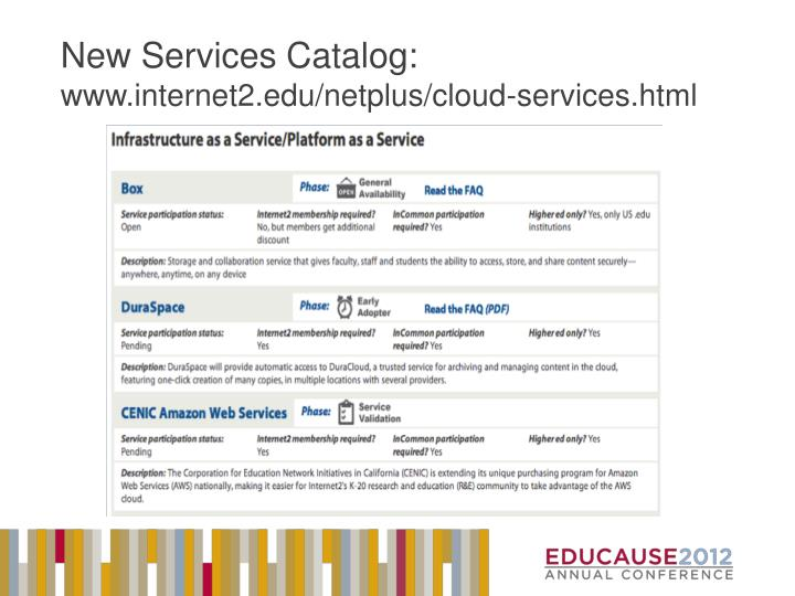 New Services Catalog: