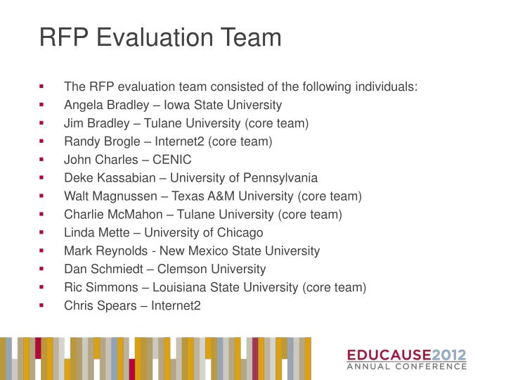 RFP Evaluation Team