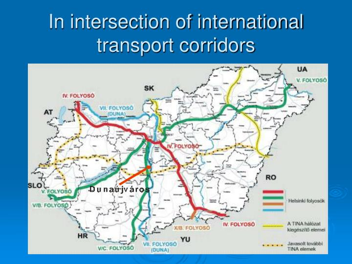 In intersection of international transport corridors