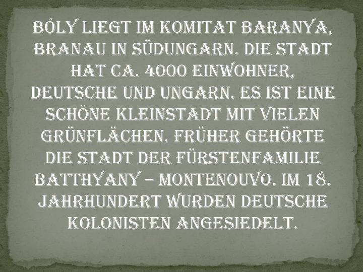 Bly liegt im Komitat Baranya, Branau in Sdungarn. Die Stadt hat ca. 4000 Einwohner, Deutsche und Ungarn. Es ist eine Schne Kleinstadt mit vielen Grnflchen. Frher gehrte die Stadt der Frstenfamilie Batthyany  Montenouvo. Im 18. Jahrhundert wurden Deutsche kolonisten angesiedelt.