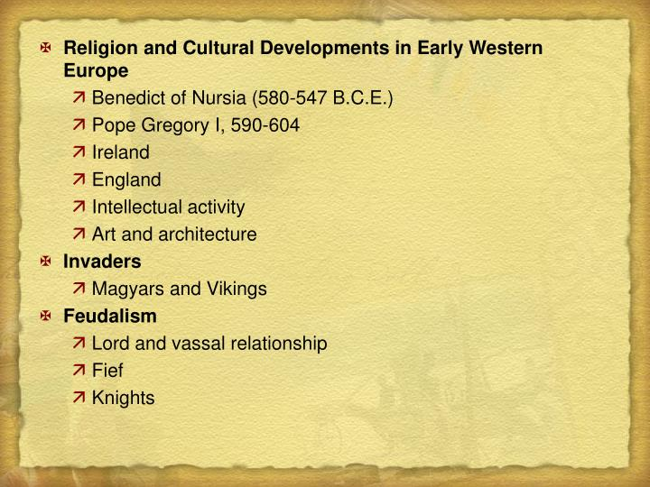 Religion and Cultural Developments in Early Western Europe
