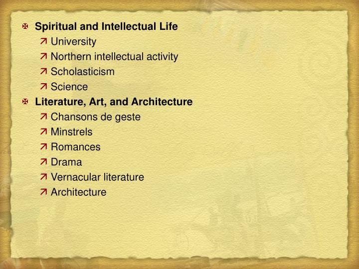 Spiritual and Intellectual Life
