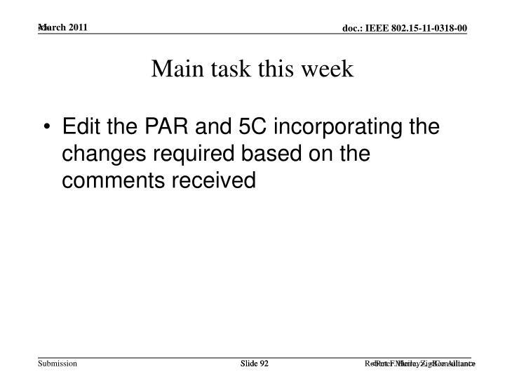 Main task this week