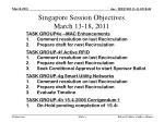singapore session objectives march 13 18 2011