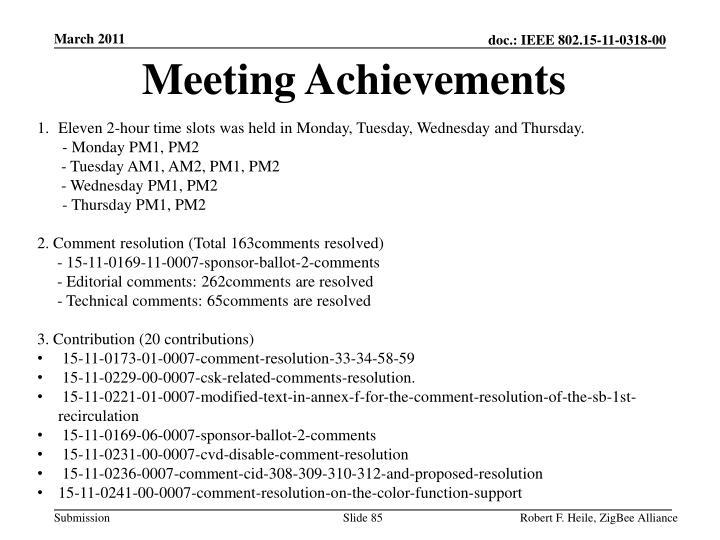 Meeting Achievements