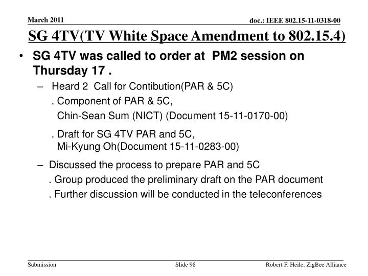 SG 4TV(TV White Space Amendment to 802.15.4)