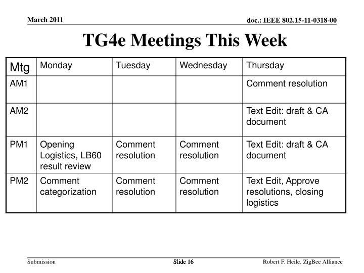 TG4e Meetings This Week