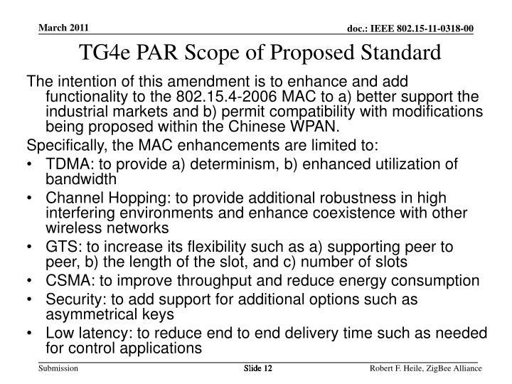 TG4e PAR Scope of Proposed Standard