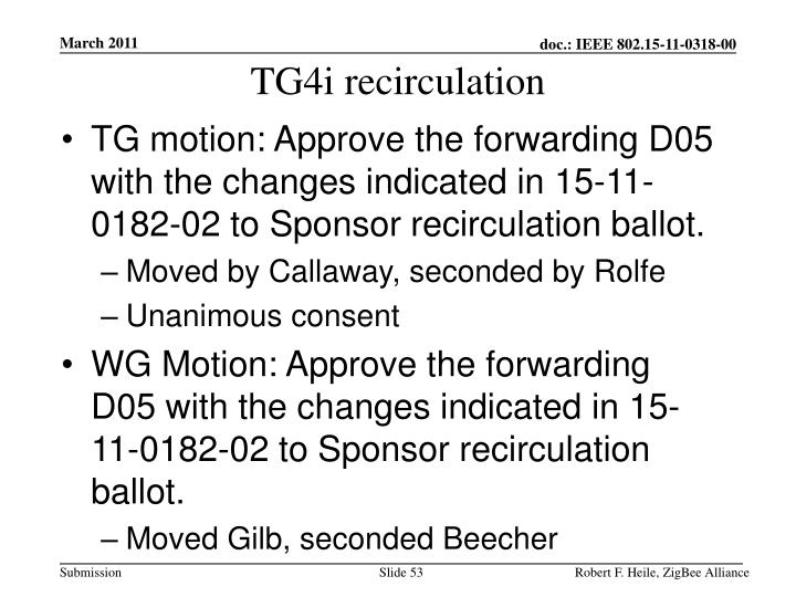 TG4i recirculation